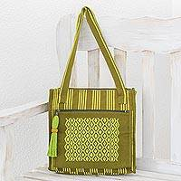 Cotton shoulder bag, 'Ixil Avocado' - Cotton Shoulder Bag in Avocado and Chartrese from Guatemala