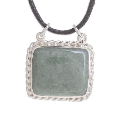 Rectangular Jade Pendant Necklace in Apple Green