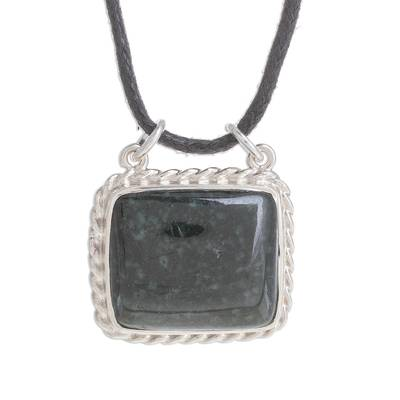 Rectangular Jade Pendant Necklace in Dark Green