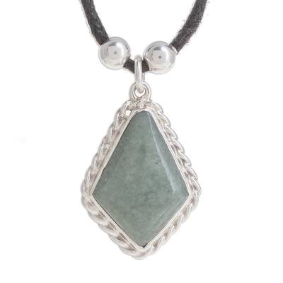 Jade Rhombus Pendant Necklace in Apple Green from Guatemala