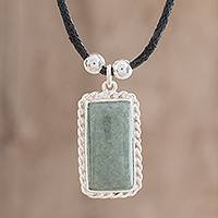 Jade pendant necklace, 'Antique Form in Apple Green' - Handmade Jade Pendant Necklace in Apple Green from Guatemala