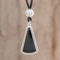 Jade pendant necklace, 'Colonial Beauty in Black' - Triangular Jade Pendant Necklace in Black from Guatemala