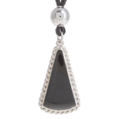 Triangular Jade Pendant Necklace in Black from Guatemala
