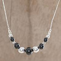 Jade pendant necklace, 'Black Constellation' - Black Jade Pendant Necklace from Guatemala