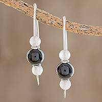 Jade and rose quartz drop earrings, 'Black Mayan Earth' - Black Jade and Rose Quartz Earrings from Guatemala