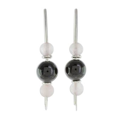Black Jade and Rose Quartz Earrings from Guatemala
