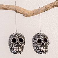 Ceramic ornaments, 'Eternal Life' (pair) - Hand-Painted Ceramic Skull Ornaments from Guatemala (Pair)