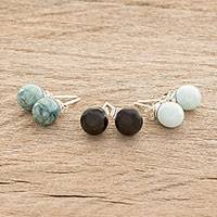 Jade stud earrings, 'Maya Globes' (set of 3) - Set of 3 Mayan Jade Stud Earrings from Guatemala