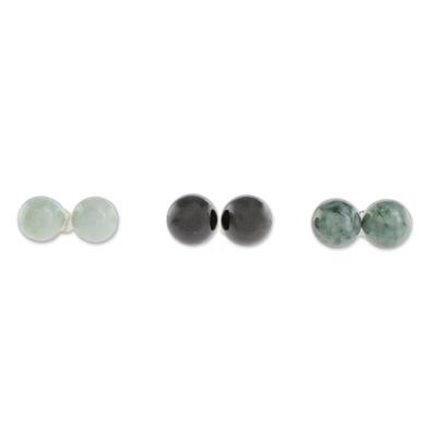 Jade stud earrings, 'Maya Globes' (set of 3) - Set of 3 Mayan Jade Stud Earrings from Guatemala