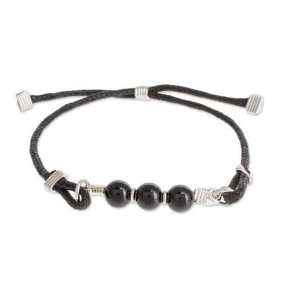 Black Jade Beaded Pendant Bracelet from Guatemala