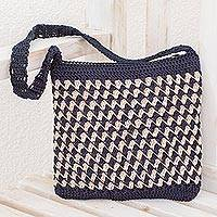 Crocheted shoulder bag, 'Zigzag Textures in Ivory' - Crocheted Zigzag Motif Ivory Shoulder Bag from Guatemala