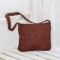 Crocheted shoulder bag, 'Margarita Texture in Redwood' - Hand-Crocheted Shoulder Bag in Redwood from Guatemala