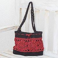 Crocheted shoulder bag, 'Sunflower Texture in Crimson' - Hand-Crocheted Floral Shoulder Bag in Crimson from Guatemala
