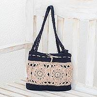 Crocheted shoulder bag, 'Sunflower Texture in Ivory' - Hand-Crocheted Floral Shoulder Bag in Ivory from Guatemala
