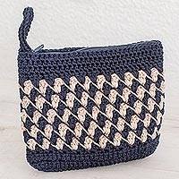 Crocheted cosmetic bag, 'Zigzag Textures in Ivory' - Crocheted Zigzag Motif Ivory Cosmetic Bag from Guatemala