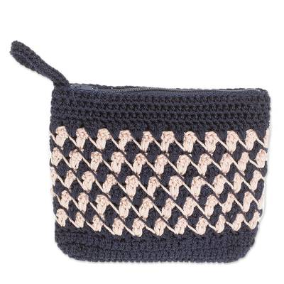 Crocheted Zigzag Motif Ivory Cosmetic Bag from Guatemala