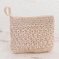 Crocheted cosmetic bag, 'Margarita Texture in Bone' - Hand-Crocheted Cosmetic Bag in Bone from Guatemala