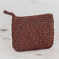 Crocheted cosmetic bag, 'Margarita Texture in Redwood' - Hand-Crocheted Cosmetic Bag in Redwood from Guatemala