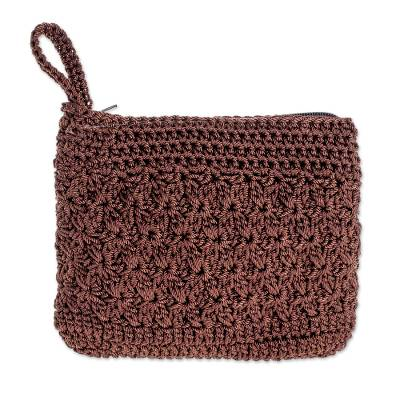 Hand-Crocheted Cosmetic Bag in Redwood from Guatemala