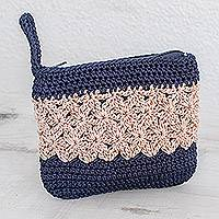 Crocheted cosmetic bag, 'Intricate Texture in Ivory' - Crocheted Cosmetic Bag in Ivory and Navy from Guatemala