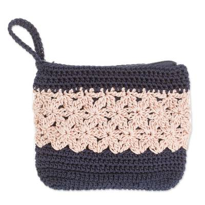 Crocheted Cosmetic Bag in Ivory and Navy from Guatemala