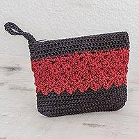 Crocheted cosmetic bag, 'Intricate Texture in Crimson' - Crocheted Cosmetic Bag in Crimson and Black from Guatemala