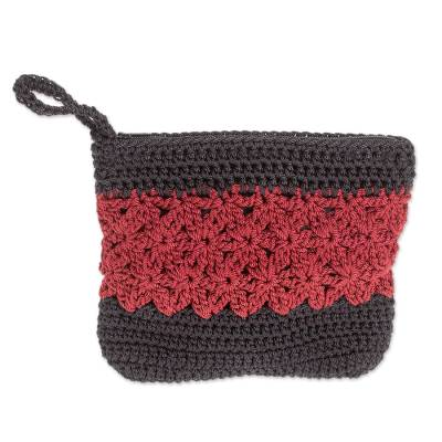 Crocheted Cosmetic Bag in Crimson and Black from Guatemala