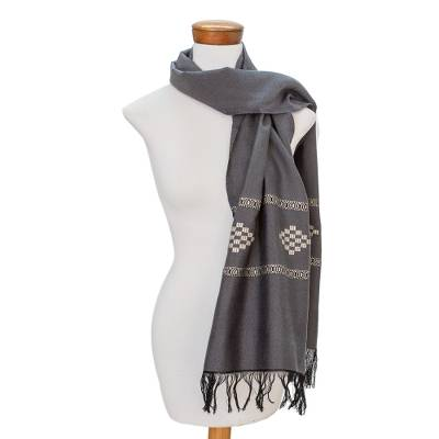 Cotton blend scarf, 'Diamond Diva in Grey' - Grey Cotton Blend Scarf with Warm White Diamond Motif