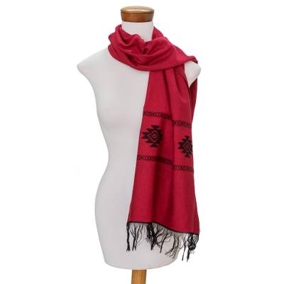 Cotton blend scarf, 'Fret Chic in Red' - Red Cotton Blend Scarf with Black Stepped-Fret Rhombus Motif