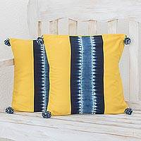 Tie-dyed cotton cushion covers, 'Maize Trail' (pair) - Tie-Dyed Cotton Cushion Covers in Maize (Pair)