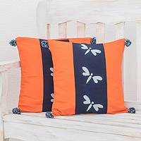 Tie-dyed cotton cushion covers, 'Dragonfly Stripe' (pair) - Dragonfly Motif Tie-Dyed Cotton Cushion Covers (Pair)