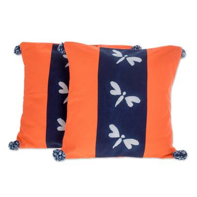 Dragonfly Motif Tie-Dyed Cotton Cushion Covers (Pair)