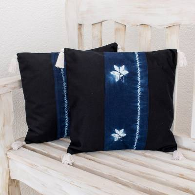 Tie-dyed cotton cushion covers, 'Indigo Fireflies' (pair) - Firefly Motif Tie-Dyed Cotton Cushion Covers (Pair)