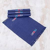 Cotton placemats, 'Midnight in Spring' (set of 4) - Handwoven Cotton Placemats in Midnight from Guatemala for 4