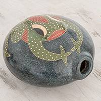 Ceramic decorative vase, 'In the Pond' - Handcrafted Frog Ceramic Decorative Vase from Nicaragua