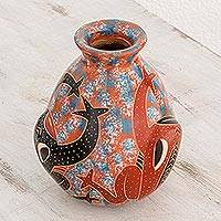 Ceramic decorative vase, 'Pond Frogs' - Frog-Themed Ceramic Decorative Vase from Nicaragua