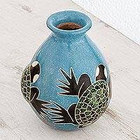 Ceramic decorative vase, 'Elegant Sea Turtles' - Sea Turtle-Themed Ceramic Decorative Vase from Nicaragua