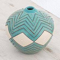 Ceramic decorative vase, 'Turquoise Texture' - Ceramic Decorative Vase in Turquoise from Nicaragua