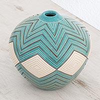 Ceramic decorative vase, 'Turquoise Texture' - Ceramic Decorative Vase in Turquoise from Nicaragua