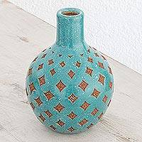 Ceramic decorative vase, 'Design of Yesteryear' - Handcrafted Ceramic Decorative Vase in Turquoise