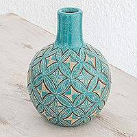 Ceramic decorative vase, 'Turquoise Intricacy' - Artisan Crafted Ceramic Decorative Vase from Nicaragua