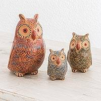 Ceramic ocarinas, 'Whistling Owls' (set of 3) - Ceramic Owl Ocarinas from Nicaragua (Set of 3)