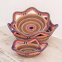 Pine straw baskets, 'Liberty Weave' (set of 3) - Handcrafted Pine Straw Baskets from Nicaragua (Set of 3)