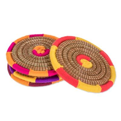 Handcrafted Pine Needle Coasters from Nicaragua (Set of 4)