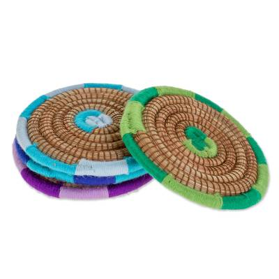 Colorful Pine Needle Coasters from Nicaragua (Set of 4)