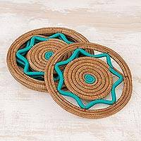 Pine needle placemats, 'Traditional Meal in Turquoise' (set of 4) - Handcrafted Pine Needle Placemats in Turquoise (Set of 4)