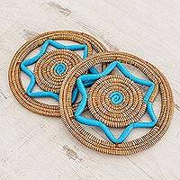 Pine needle trivets, 'Homestead Cuisine in Turquoise' (pair) - Handcrafted Pine Needle Trivets in Turquoise (Pair)