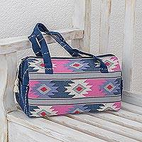 Cotton travel bag, 'Pastel Geometry' - Handwoven Pastel Cotton Travel Bag from Guatemala