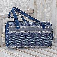 Cotton travel bag, 'Indigo Lakes' - Cotton Travel Bag in Indigo and Smoke from Guatemala