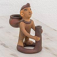 Ceramic sculpture, 'Man with Jug' - Handcrafted Pre-Hispanic Ceramic Sculpture from Nicaragua
